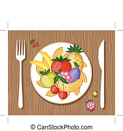 Fruits on plate with fork and knife on wooden background for...