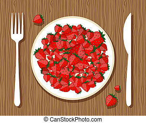 Strawberry on plate with fork and knife on wooden background for your design