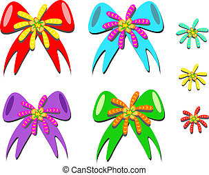 Mix of Colorful Bows and Flowers