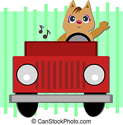 Cat in a Jeep - This Cat loves to ride in his Jeep with his...