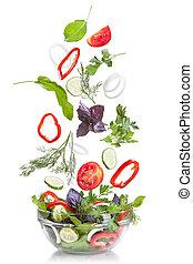 Queda, legumes, salada, isolado, branca