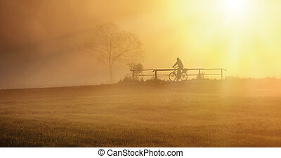 biker in the fog - biker is driving with his bike on the...