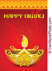 Decorated Diya - illustration of decorated diya for happy...