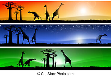Three fantastic african landscapes - Three banners with...