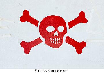 Death synbol - Red death symbol over a gray cartel