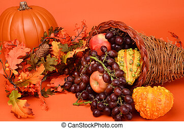 Cornucopia for Thanksgiving - Plenty of fruit and goodies...