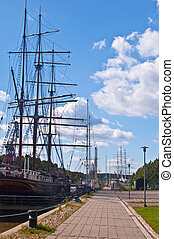 Harbor of Turku - view along the riverside and harbor of...