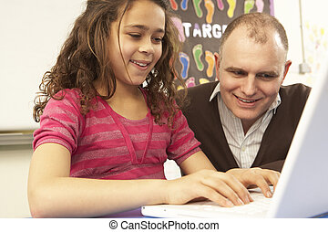 Schoolgirl In IT Class Using Computer With Teacher