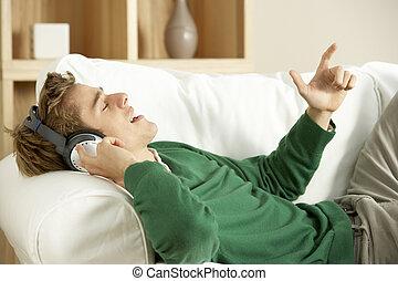 音樂, 年輕, 听, 人