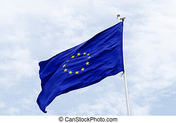 european union flag on flagpost