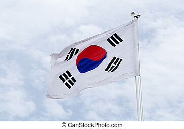 south korea flag - south korean flag on flagpost