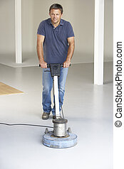 Cleaner polishing office floor