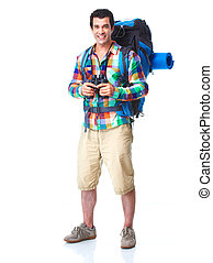 Hiker tourist man Hiking Isolated over white background