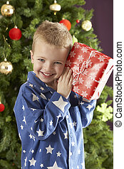 Young Boy Holding Wrapped Present In Front Of Christmas Tree