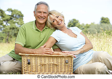 Mature couple having picnic in countryside