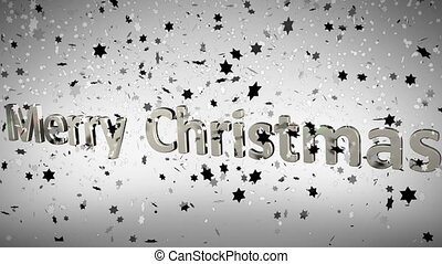 Merry Christmas animation with stars with copy space