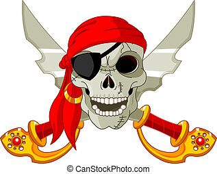 Pirate Skull and crossed sables