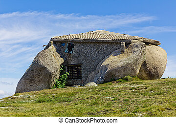 Stone house in the top of a moutain near Fafe, Guimaraes -...