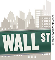 wall street sign plate on green over skyscrapers
