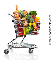 Shopping cart. - Metal shopping cart with grocery items....