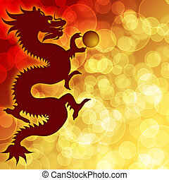 Happy Chinese New Year Dragon with Blurred Background -...