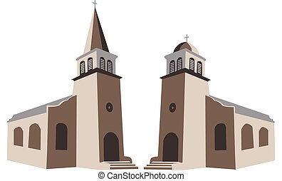 Church - Two churches in vector illustration