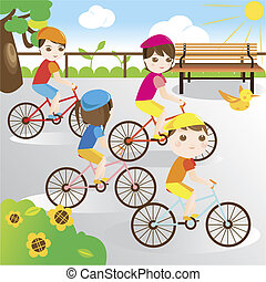 Family riding bicycle in the park