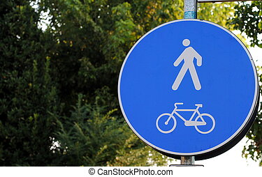 road sign of bicycle lane, only bike and people allowed