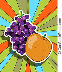 Pop art fresh fruits