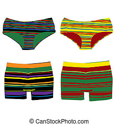 men and women underwear - striped men and women underwear...