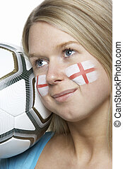 Young Female Football Fan With St Georges Flag Painted On Face