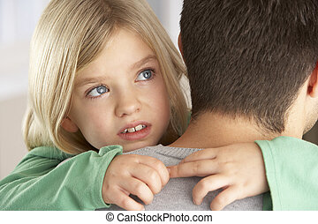 Portrait Of Happy Daughter Looking Over Fathers Shoulder