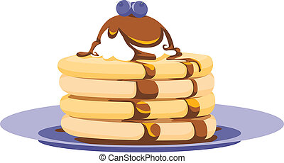 Pancake Stack Vector Illustration - Spot illustration of a...