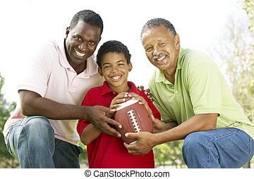 Grandfather With Son And Grandson In Park With American...