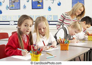grupo, de, primario, alumnos, y, profesor, teniendo,...