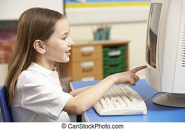 écolière, utilisation, informatique, il, classe