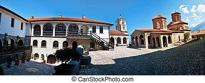 Panorama of the inner cloister of Saint Naum monastery -...
