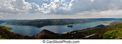 Panorama of the Krka river and Visovac monastery, Croatia -...