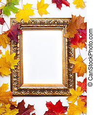 Art frame on white background with colorful autumn leaves -...