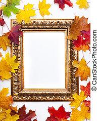 芸術, カラフルである, フレーム, 秋, 背景, 白, 葉