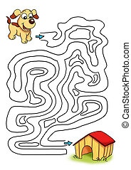 the game of the labyrinth, the dog - colored illustration of...