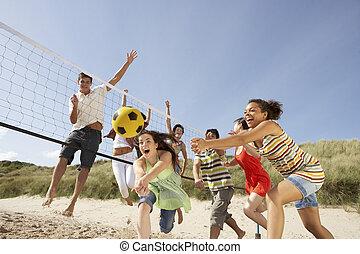 grupo, de, adolescente, amigos, juego, voleibol, en, playa