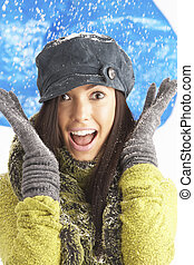 Young Woman Wearing Warm Winter Clothes And Hat In Studio