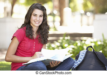 Female Teenage Student Studying In Park