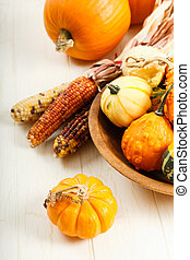 Colorful Autumn Vegetables - A display of colorful Fall...