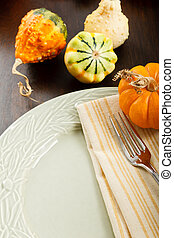Autumn Table Setting - Colorful Autumn place setting with...