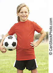 Young Girl In Football Team