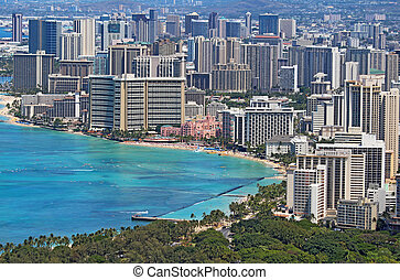 Waikiki Beach and the skyline of Honolulu, Hawaii - Close-up...