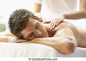 balneario, el gozar, joven, masaje, hombre