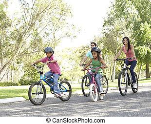 joven, familia, equitación, bicicletas, en, parque